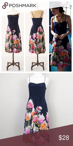 "ANTHROPOLOGIE Maeve Aven Bloom Midi Dress Maeve unearths one of our perennial favorite frocks, shaped with a sweetheart neckline and covered in vibrant blossoms.  Side pockets Side zip Silk; polyester lining Dry clean 45""L Anthropologie Dresses Midi"
