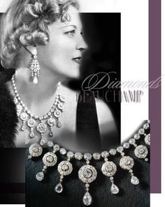 Countess of Beauchamp   Viscountess Elmley  Historic diamond necklace   Court Cluster and Diamond Collier The former Fru Dornonville de la Cour, from Copenhagen, whose marriage to Lord Beauchamp's elder son was celebrated at St. Clement Danes in June 1936 click for more about the #jewel #history #important #jewellery #necklace #collier #diamonds #beauchamp