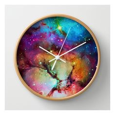 Floral Nebula Wall Clock (£20) ❤ liked on Polyvore featuring home, home decor, clocks, wall clocks, abstract wall clock, battery digital clock, abstract clock, lcd wall clock and lcd clock