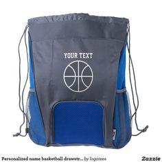Personalized name basketball drawstring backpack