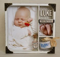 Shadow box idea (belly + newborn photo - band, name, date, feet, message in a bottle)