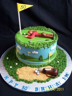Jim's Gof Cake 8 inch cake, cream cheese frosting and fondant accents. Inspi… Jim's Gof Cake 8 inch cake, cream cheese frosting and fondant accents. Inspired by the many golf cakes here on CC. Birthday Cakes For Men, Cakes For Boys, Cake Birthday, Men Birthday, Golf Themed Cakes, Golf Cakes, Cake Cookies, Cupcake Cakes, Golf Party Foods