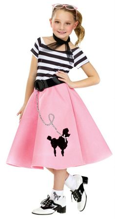 Girls Costumes - This fun Soda Shop Sweetie Girls Costume includes the poodle dress, belt, and the matching hair or neck scarf. A cute and fun Halloween Costume! Girls 50s Costumes, Toddler Costumes, Halloween Costumes For Girls, Halloween Fancy Dress, 1950s Costumes, Costume Halloween, Children Costumes, Family Costumes, Adult Halloween