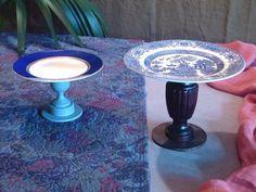 Re-lab Alzatine realizzate con piatti vintage in porcellana e antichi piedini di mobili restaurati