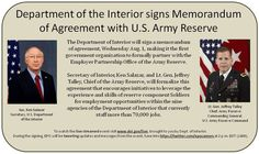 It all happens TODAY! Dept. of the #Interior and #ArmyReserve signs MOA for #veteran #employment. Don't miss it!