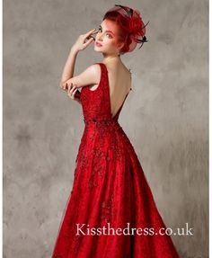 Gorgeous Red Lace V-