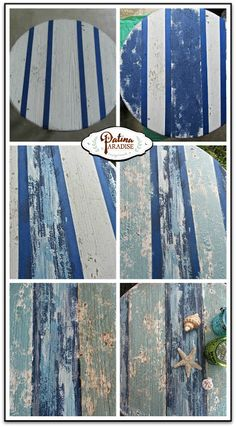 Coastal Table With Faux Plank Boards & Saltwash - Patina Paradise                                                                                                                                                      More
