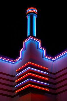 pink blue white neon architecture