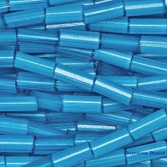 00a16c1f2570 Hank Aqua Blue Satin Bugle -  2   4 mm Tube Beads - Czech Glass Seed Beads