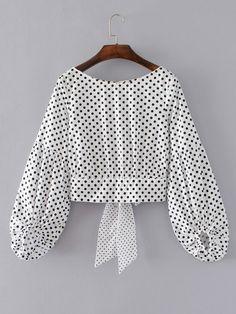 Buy Lantern Sleeve Polka Dot Bow Tie Back Top from abaday.com, FREE shipping Worldwide - Fashion Clothing, Latest Street Fashion At Abaday.com