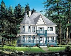 Elevation of Country   Farmhouse  Victorian   House Plan 49660 http://www.familyhomeplans.com/plan_details.cfm?PlanNumber=49660