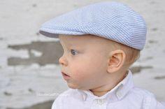 Baby hat, seersucker newsboy hat, light blue seersucker hat, baby boy photo prop flat cap  - made to order