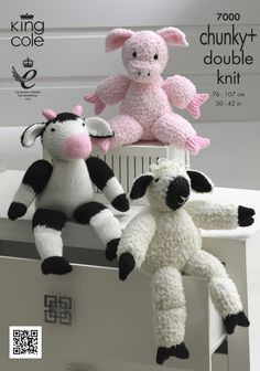 Knitted cow, pig and sheep. Farmyard Collection - King Cole