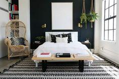 Lulu & Georgia Justina Blakeney Kahelo Lines Reversible Rug, Black White Bedroom, Modern Bedroom, Contemporary Bedroom, Master Bedroom, Eclectic Bedrooms, Narrow Bedroom, Gothic Bedroom, Gold Bedroom, Bedroom With Green Walls