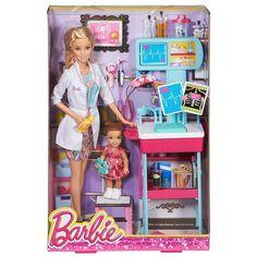 <strong>Barbie - Barbie Pediatra</strong>, un conjunto de la serie Barbie Quiero Ser que incluye 1 muñeca Barbie Pediatra, 1 muñeca de una paciente y todo lo necesario para recrear la consulta de un pediatra. En esta ocasión, <strong>Barbie</strong> es una doctora especializada en pediatría. Ayúdala a cuidar y a curar a los niños enfermos. Edad recomendada: +3 años.