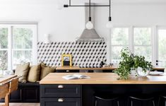 An Eclectic Family Beach House on the Mornington Peninsula Black And White Backsplash, White Tile Backsplash, Black And White Tiles, Victorian Cottage, Victorian Homes, White House Tour, Pop And Scott, Dining Nook, Australian Homes