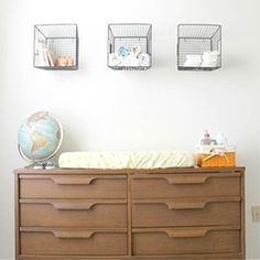 Use wire baskets as storage! (via Apartment Therapy)