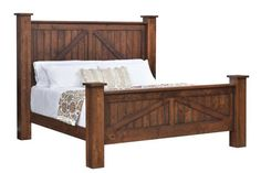 Amish Mountain Lodge Post Bed Rustic style for your bedroom! The Mountain Lodge Post Bed is available in 6 sizes and 6 wood types as well. Choice of panel or platform bed. Made in America. #beds #rusticbed