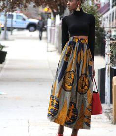 African Print Maxi High Waist Skirt - Oiseaux Qui Volent (zuvaa.com : global marketplace for african design)