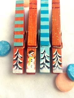 MOLLETTE di Natale mano verniciata turchese e di SugarAndPaint