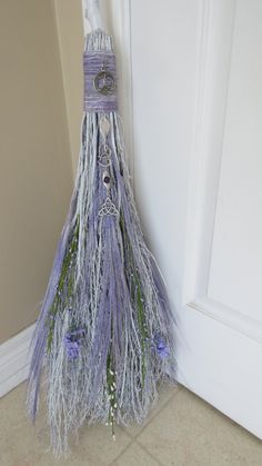 Lavender Wedding Broom Handfasting BesomWiccan by WayOfTheCauldron Wedding Broom, Wiccan Wedding, Witch Broom, Pagan Witch, Diy Halloween Decorations, Halloween Crafts, Jumping The Broom, Fairy Dress, Handfasting