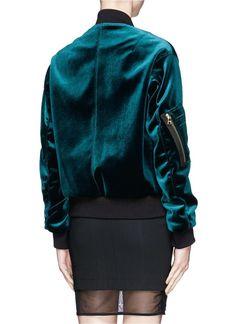 SANDRO - 'Ventura' velvet bomber jacket - on SALE   Green Casual Jackets   Womenswear   Lane Crawford - Shop Designer Brands Online