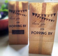 Personalized Popcorn Bags for Favors, Popcorn or Candy Bar - Kraft Paper Bags for Rustic, Vintage Wedding Bunting