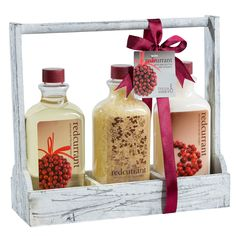 Redcurrant! Distress white wooden three sectional caddy perfumed bath gift set