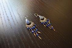 Cute Navy Blue Sodalite Stone Peruvian Earrings - Peruvian Earrings, Long Earrings, Unique Ethnic Earrings, Peruvian Jewelry