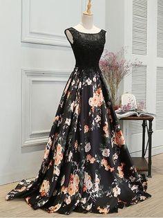 Chic A-line Scoop Satin Black Lace Sleeveless Long Prom Dress Evening Dress AM205