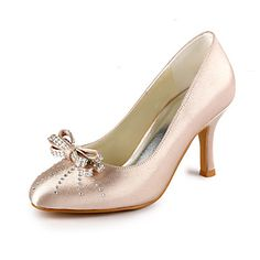 Satin Stiletto Closed Toe/ Pumps With Bow For Wedding (More Colors) – USD $ 53.99   7showing