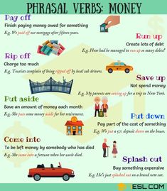List of useful phrasal verbs about Money in English with examples and ESL picture. Learn common money phrasal verbs to enhance your finance and business vocabulary in English. English Idioms, English Vocabulary Words, English Phrases, Learn English Words, English Grammar, English Resources, English Tips, English Study, English Lessons