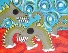 ACEO Lake Creatures Print 2.5 x 3.5 Inches by ToniTiger415 on Etsy