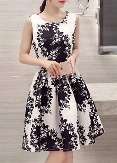 Black and White Floral Sleeveless Fit and Flare Dress