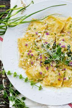 Ravioli in spiced butter sauce