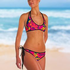 Feel the heat with this bright and comfortable bikini! The top is similar in style to a sports bra for extra support and a great look while lounging on sandy beaches.  • 82% Polyester, 18% Spandex • Chlorine-resistant fabric • Cheeky fit • Seamless and supportive • Reversible design