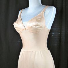 ~1970's Vintage OLGA Bodysilk Slip nude with padded Bra by BoudoirBarbie, $23.00