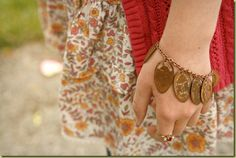 Pressed pennies charm bracelet. What a great idea!