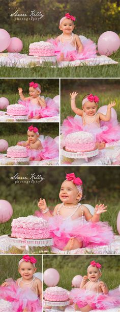 Outdoor First Birthday Cake Smash Photos with pink rose cake, tutu, pearls & balloons by Tampa Childrens Photographer Sherri Kelly Photography