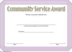 Community Service Certificate Template from i.pinimg.com