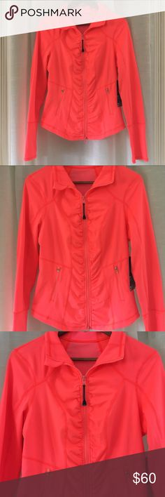 Bright Athletic Jacket This bright coral color stands out now matter what you are up to! It's designed to contour and hug your body in a flattering way. Lightweight. Perfect for all types of workouts. Zella Tops Sweatshirts & Hoodies