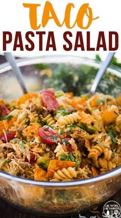 Taco Pasta Salad is a delicious pasta salad made with Mexican flavors, seasoned ground beef, crunchy doritos, and a delicious creamy dressing! Perfect for a summer potluck or BBQ! recipes with ground beef ideas Taco Pasta Salad Taco Salad Recipes, Mexican Food Recipes, Dinner Recipes, Taco Salads, Cold Pasta Recipes, Mexican Pasta Salads, Recipe Pasta, Recipe For Salad, Pasta House Salad Recipe