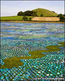 CD sea by Bruce Munro--600,000 CD's in the installation--upcycled