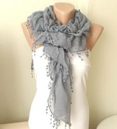 NEW 2012 Spring Model Gray Ruffle Scarf from 100 coton with lace | moonfairy - Accessories on ArtFire