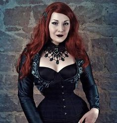 ladyannacalypso:    #Repost @madmoisellemeli    Beautiful teardrop necklace & hairclip from #bloodybrilliants  wig #anya from @black_candy_fashion_wigs  bolero I made myself corset is from @restyle.pl  #redhead #classy #goth #gothic #gothik #goth #gothlady #elegant #corsets #corset #tinywaist #smallwaist #22inches #22inch