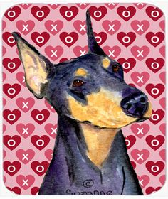 Doberman Hearts Love and Valentine's Day Portrait Mouse Pad, Hot Pad or Trivet
