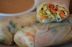 Foodista | Recipes, Cooking Tips, and Food News | Gluten Free Vegetarian Spring Rolls With Thai-Style Peanut Sauce
