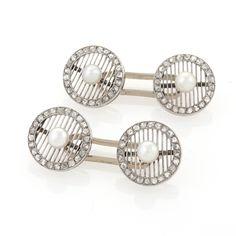 Art Deco Platinum, Diamond and Pearl Cufflinks Cufflinks (Dress Sets) Jewelry Antique Jewelry Tiffany Lamps Art Nouveau