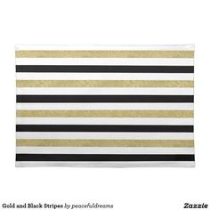 Gold and Black Stripes Cloth Place Mat