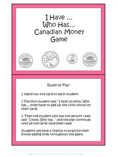 This is a fun way to practice counting money! Contains 24 cards. *Please note: This game is also part of my Canadian Money Unit for Grade 2 for sale on TpT. 2nd Grade Math Games, 4th Grade Math, Grade 2, Money Activities, Money Games, Math Resources, Learning Money, Counting Money, Teachers College
